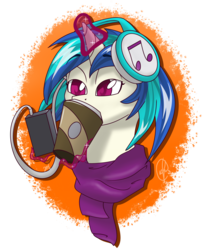 Size: 1760x2160 | Tagged: safe, artist:cadetredshirt, dj pon-3, vinyl scratch, pony, unicorn, background pony, bust, clothes, coffee, coffee cup, cup, cute, drink, drinking, female, headphones, horn, lidded eyes, magic, mare, missing accessory, music, patreon, patreon reward, phone, scarf, simple background, sleepy, solo, vinylbetes