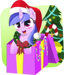 Size: 5542x6508 | Tagged: absurd res, artist:jhayarr23, background pony, blushing, box, candy, candy cane, christmas, christmas lights, christmas tree, christmas wreath, commission, cute, female, food, happy, hat, holiday, mare, pony, pony in a box, present, safe, santa hat, seadorable, seafoam, sea swirl, smiling, solo, tree, unicorn, wreath, ych result