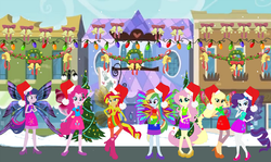Size: 2186x1300 | Tagged: alicorn, applejack, artist:epiccartoonsfan, artist:selenaede, artist:user15432, base used, bell, bells, boots, christmas, christmas fairy, christmas lights, christmas tree, christmas wreath, clothes, colored wings, dress, equestria girls, fairies are magic, fairy, fairy wings, fluttershy, gloves, green wings, hat, high heel boots, high heels, holiday, human, humane five, humane seven, humane six, humanized, leggings, lights, multicolored wings, pinkie pie, pink wings, ponied up, pony ears, purple wings, rainbow dash, rainbow dress, rainbow wings, rarity, safe, santa hat, shoes, snow, sunset shimmer, the rainbooms, tree, twilight sparkle, twilight sparkle (alicorn), winged humanization, wings, winter, wondercolts, wreath