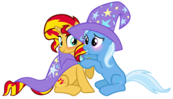 Size: 6251x3600 | Tagged: safe, artist:cultleaderfluttershy, sunset shimmer, trixie, pony, unicorn, absurd resolution, blushing, cape, clothes, cute, cutie mark, diatrixes, female, hat, lesbian, looking at you, shimmerbetes, shipping, simple background, smiling, suntrix, transparent background, trixie's cape, trixie's hat, vector