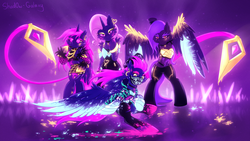 Size: 2732x1536 | Tagged: ahri, akali, alicorn, alternate version, armpits, artist:shad0w-galaxy, bandana, bipedal, blacklight, clothes, crossover, evelynn, female, fluffy, fluttershy, group, kai'sa, k/da, k-pop, league of legends, mare, neon, pony, purple background, rainbow dash, rarity, safe, simple background, twilight sparkle, twilight sparkle (alicorn), video game crossover