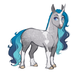 Size: 2166x2127   Tagged: safe, artist:askbubblelee, oc, oc only, oc:bubble lee, horse, pony, unicorn, blaze (coat marking), coat markings, colored sketch, curved horn, facial markings, female, horn, mare, simple background, smiling, socks (coat markings), solo, white background
