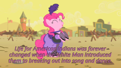 Size: 640x360 | Tagged: safe, edit, edited screencap, screencap, pinkie pie, pony, over a barrel, caption, cards against humanity, dancing, image macro, meme, saloon dress, saloon pinkie, showgirl, solo, you gotta share
