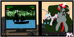 Size: 5000x2500 | Tagged: safe, artist:pastel-pony-princess, oc, oc only, oc:serendypity, pony, unicorn, clothes, comic, couch, dialogue, duo, ear fluff, female, heart eyes, hoof hold, magic, male, mare, pony (sony), socks, stallion, telekinesis, television, thigh highs, video game, wingding eyes