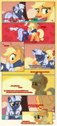 Size: 1919x4225   Tagged: safe, artist:estories, applejack, oc, oc:silverlay, earth pony, pony, unicorn, comic:a(pple)ffection, comic, hill, red background, simple background, sunset, tree