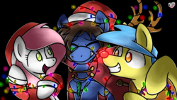 Size: 1920x1080 | Tagged: safe, artist:sugar morning, oc, oc only, oc:bizarre song, oc:lost thunder, oc:sugar morning, pegasus, reindeer, antlers, best friends, black background, cape, christmas, christmas lights, clothes, coat, commission, costume, eyes closed, female, happy, happy hearth's warming, hat, hearth's warming, hearth's warming eve, holiday, horn, jewelry, male, mare, merry christmas, necklace, pegasus oc, red nose, reindeer antlers, reindeer pony, santa hat, simple background, smiling, stallion, sugarre, trio, wings