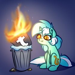 Size: 2449x2449 | Tagged: safe, artist:witchtaunter, lyra heartstrings, pony, unicorn, :t, burn, burning, dumpster fire, ear fluff, female, fire, gradient background, looking at something, mare, on fire, polite cat, solo, some mares just want to watch the world burn, some men just want to watch the world burn, take that, this is fine, trash can, tumblr, tumblr 2018 nsfw purge, tumblr drama