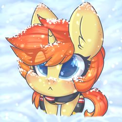 Size: 2000x2000 | Tagged: artist:angelbeat-drift, clothes, female, freckles, looking up, mare, oc, oc:darla crossfire, oc only, pony, pouting, safe, scarf, sitting, snow, snowfall, socks, thigh highs, unicorn