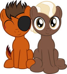 Size: 1173x1296 | Tagged: 2019 community collab, artist:badumsquish, buzz cut, chocolate, colt, derpibooru community collaboration, derpibooru exclusive, duo, eyepatch, eyes closed, foal, food, goo pony, looking at you, male, melting, monster pony, not chocolate, oc, oc:chocolate medley, oc only, oc:rustback, original species, pony, safe, shiny, side by side, simple background, sitting, smiling, tatzlpony, transparent background, unshorn fetlocks, younger
