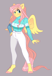 Size: 1232x1778 | Tagged: anthro, artist:nemovonsilver, clothes, colored hooves, female, fluttershy, pants, pegasus, safe, smiling, solo, sweater, unguligrade anthro