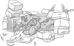 Size: 1147x722 | Tagged: artist:lux, binary pen, boxes, depressed, drawing, male, oc, oc:lux astera, oc only, pc, pony, safe, solo, vent art