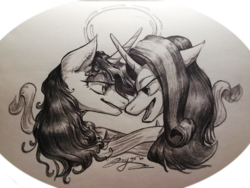 Size: 4160x3120 | Tagged: alicorn, artist:angusdra, female, lesbian, looking at each other, monochrome, pony, safe, shipping, starlight glimmer, traditional art, twilight sparkle, twilight sparkle (alicorn), twistarlight, unicorn