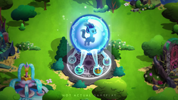 Size: 1530x860 | Tagged: amulet, amulet of aurora, clover the clever's cloak, crown, crown of grover, female, fountain, gameloft, game screencap, jewelry, magic, magic circle, mare, pony, regalia, safe, school raze, solo, starlight glimmer, talisman of mirage, trapped, unicorn