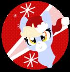 Size: 940x980 | Tagged: safe, artist:nootaz, oc, oc:nootaz, pony, unicorn, bust, christmas, female, hat, holiday, hooves, icon, lineless, mare, portrait, santa hat, smiling, solo