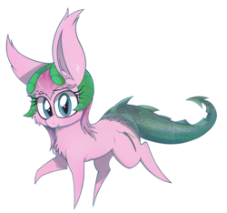 Size: 2000x1873 | Tagged: safe, artist:dragonpone, derpibooru exclusive, oc, oc only, oc:elegant flame, dracony, hybrid, 2019 community collab, derpibooru community collaboration, cheek fluff, chest fluff, dragon tail, ear fluff, fangs, female, horns, interspecies offspring, looking at you, mare, offspring, parent:spike, parent:sweetie belle, parents:spikebelle, raised hoof, raised leg, simple background, smiling, solo, transparent background