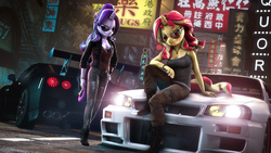 Size: 15360x8640 | Tagged: safe, artist:calveen, starlight glimmer, sunset shimmer, unicorn, anthro, plantigrade anthro, 3d, absurd resolution, alternate hairstyle, aviator glasses, badass, breasts, car, chinese, cigarette, cleavage, clothes, duo, duo female, eyebrows, female, glasses, hand on hip, jeans, lens flare, looking at you, neon, nissan, nissan gt-r, nissan skyline, pants, road, shoes, sign, signature, sitting, slasher smile, smiling, smoke, smoking, source filmmaker, tail, wallpaper