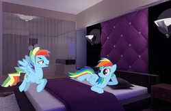 Size: 1224x800 | Tagged: safe, artist:kayman13, rainbow dash, pegasus, pony, bedroom, dashblitz, duo, female, irl, male, photo, ponies in real life, rainbow blitz, rule 63, self ponidox, selfcest, shipping, straight