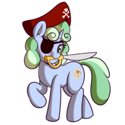 Size: 512x512 | Tagged: safe, artist:anibaruthecat, oc, oc only, oc:sweetwater, pony, unicorn, clothes, costume, eyepatch, female, filly, hat, pirate, pirate hat, sword, weapon