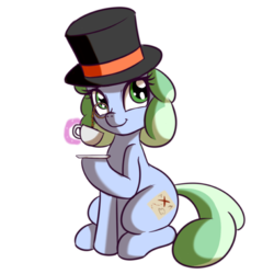 Size: 512x512 | Tagged: safe, artist:anibaruthecat, oc, oc only, oc:sweetwater, pony, unicorn, female, filly, food, hat, magic, monical, tea, top hat