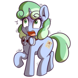 Size: 512x512 | Tagged: safe, artist:anibaruthecat, oc, oc only, oc:sweetwater, pony, unicorn, expression, female, filly, goggles, scared, simple background, sticker, transparent background