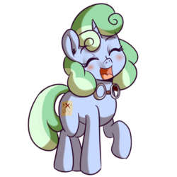 Size: 512x512 | Tagged: safe, artist:anibaruthecat, oc, oc only, oc:sweetwater, pony, unicorn, cute, expressions, female, filly, goggles, happy, simple background, smiling, sticker, transparent background