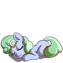 Size: 512x512 | Tagged: safe, artist:anibaruthecat, oc, oc only, oc:sweetwater, pony, unicorn, female, filly, simple background, sleeping, sticker, transparent background, zzz