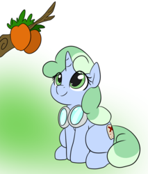Size: 880x1034 | Tagged: artist:dudey64, behaving like a cat, cute, eyes on the prize, female, filly, food, fruits, goggles, gradient background, happy, looking at something, mango, oc, ocbetes, oc:sweetwater, pony, safe, simple background, sitting, smiling, solo, tree branch, unicorn