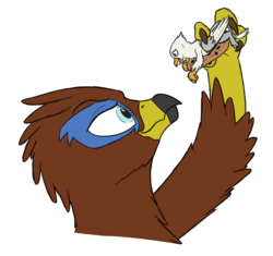 Size: 1055x991 | Tagged: safe, artist:theandymac, artist:tinibirb, color edit, edit, oc, oc only, oc:der, oc:saewin, griffon, color, colored, cookie, duo, food, male, micro, simple background, sketch