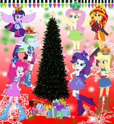 Size: 1833x1995 | Tagged: alicorn, alicornified, applejack, artist:selenaede, artist:theshadowstone, artist:user15432, christmas, christmas crown, christmas lights, christmas presents, christmas star, christmas tree, crown, equestria girls, fairy, fairy wings, fluttershy, holiday, human, humanized, jewelry, lights, pinkie pie, pink wings, ponied up, pony ears, present, princess applejack, princess fluttershy, princess pinkie pie, princess rainbow dash, princess rarity, race swap, rainbow dash, rarity, regalia, royal stickers, safe, shimmercorn, snow, snowflake, stars, sunset shimmer, the rainbooms, tree, twilight sparkle, twilight sparkle (alicorn), winged humanization, wings, winter, wondercolts