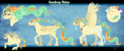 Size: 2240x921 | Tagged: safe, artist:bijutsuyoukai, oc, oc:sundrop shine, pegasus, pony, crown, ethereal mane, female, hoof shoes, jewelry, magical lesbian spawn, mare, offspring, parent:princess celestia, parent:sunset shimmer, parents:sunsestia, peytral, realistic horse legs, reference sheet, regalia, solo