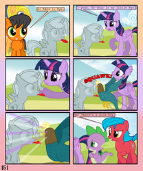 Size: 900x1080 | Tagged: alicorn, artist:lister-of-smeg, cockatrice, colt, comic:crystal heart attack, earth pony, female, flash sentry, kazoo, male, mare, oc, oc:crosspatch, oc:lazybug, oc:nyx, petrified, safe, spike, twilight sparkle, twilight sparkle (alicorn)