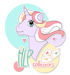 Size: 765x816 | Tagged: artist:pinle, bust, circle, collector, color outline, cute, drop shadow, envelope, g1, heart, horn, letter, mascot, oc, oc only, oc:silly letters, pony, safe, simple background, smiling, solo, transparent background, unicorn