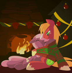 Size: 1280x1300 | Tagged: safe, artist:hoverrover, big macintosh, cheerilee, earth pony, pony, cheeribetes, cheerimac, christmas, christmas tree, clothes, colored hooves, cute, cutie mark, eyes closed, female, fire, fireplace, floppy ears, hearth's warming, hearth's warming eve, hearth's warming tree, holiday, hooves, lineless, macabetes, male, mare, shipping, stallion, straight, sweater, tree
