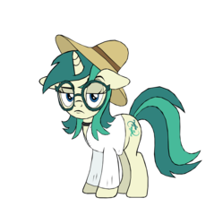 Size: 4500x4703 | Tagged: safe, alternate version, artist:tyamat, oc, oc only, oc:spring starflower, pony, unicorn, 2019 community collab, derpibooru community collaboration, absurd resolution, choker, clothes, cute, dress, female, glasses, hat, simple background, solo, sun hat, trans girl, transgender, transparent background