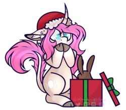 Size: 1765x1547 | Tagged: safe, artist:wooden-willow, oc, oc only, oc:tarot, classical unicorn, pony, rabbit, unicorn, christmas, christmas gift, cloven hooves, curved horn, digital art, ear fluff, ear piercing, female, floppy ears, fluffy, freckles, gasp, hat, holiday, horn, leonine tail, long mane, long tail, mare, palomino, piercing, pink hair, pink mane, pink tail, present, santa hat, signature, simple background, sitting, solo, surprised, transparent background, unshorn fetlocks, ych result