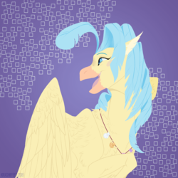 Size: 1200x1200   Tagged: safe, artist:dementra369, princess skystar, classical hippogriff, hippogriff, my little pony: the movie, bust, feather, female, happy, jewelry, necklace, open mouth, portrait, seashell, seashell necklace, simple background, solo