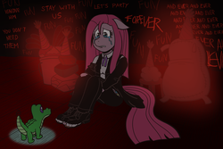 Size: 1800x1200 | Tagged: safe, artist:regularmouseboy, gummy, madame leflour, mr. turnip, pinkie pie, rocky, sir lintsalot, anthro, plantigrade anthro, party of one, clothes, crying, cutie mark, darkness, feet, hope, insanity, pinkamena diane pie, shoes, toes, torn clothes