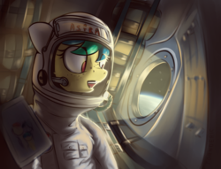 Size: 3271x2500 | Tagged: artist:toanderic, astronaut, cosmonaut, earth, freckles, oc, oc:apogee, oc only, pony, safe, solo, soyuz, space, spacesuit, stars, weightlessness