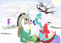 Size: 4960x3508   Tagged: safe, artist:mr100dragon100, discord, princess cadance, princess celestia, princess luna, twilight sparkle, alicorn tetrarchy, clothes, contest entry, dislestia, earmuffs, female, frown, laughing, male, scarf, shipping, snow, snowball, snowball fight, snowman, snowmare, snowpony, straight, sweater, twilight sparkle (alicorn)