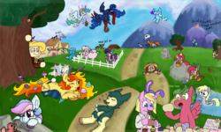 Size: 900x540 | Tagged: safe, artist:jargon scott, artist:lockheart, artist:vree, artist:wafflecakes, bon bon, derpy hooves, lyra heartstrings, pinkie pie, princess celestia, princess luna, sweetie drops, twilight sparkle, oc, unnamed oc, alicorn, bird, earth pony, pegasus, pony, sheep, unicorn, basket, behaving like a duck, bon bon is not amused, bow, brush, bunny ears, clothes, easter egg, egg, female, fence, flower, flying, gravestone, hair bow, male, mane bow, mare, mountain, nest, onomatopoeia, path, pegaduck, pond, rock, rubik's cube, sleeping, socks, sound effects, squint, stallion, striped socks, sword, tongue out, tree, u lil shid, unamused, unicorn twilight, weapon, zzz