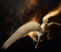 Size: 2362x2000 | Tagged: safe, artist:bra1neater, daybreaker, alicorn, horse, pony, black background, butt, female, fine art emulation, fire, flying, helmet, mane of fire, mare, plot, realistic, realistic anatomy, simple background, solo, wings