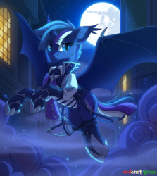 Size: 1300x1456 | Tagged: safe, artist:redchetgreen, oc, oc only, oc:midnight hope, alicorn, bat pony, bat pony alicorn, pony, armor, backlighting, bat pony oc, bat wings, broken horn, clothes, commission, cute, cute little fangs, ear fluff, eye scar, fangs, female, flying, full moon, horn, looking at you, mare, mare in the moon, mist, moon, night, night sky, scar, sky, slit eyes, smiling, solo, spread wings, starry eyes, urban, window, wing claws, wingding eyes, wings, ych result