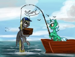 Size: 998x758 | Tagged: safe, artist:ketrindarkdragon, derpy hooves, lyra heartstrings, bird, seagull, clothes, cute, cyrillic, derp, derpabetes, fishing, fishing rod, ocean, russian, translated in the description, uniform, water