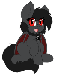 Size: 959x1200 | Tagged: 2019 community collab, artist:miss-jessiie, bat pony, bat pony oc, collar, derpibooru community collaboration, looking at you, oc, oc:qetesh, pony, safe, simple background, sitting, solo, transparent background
