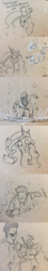 Size: 1280x7153 | Tagged: safe, artist:greyscaleart, princess celestia, oc, oc:human grey, alicorn, human, pony, :d, :i, clothes, comic, dork, female, head pat, hoodie, male, mare, monochrome, pat, pencil, sketch, superhero landing, traditional art, unamused