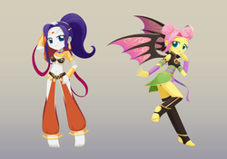 Size: 1420x1000 | Tagged: artist:howxu, barefoot, belly button, belly dancer, clothes, cosplay, costume, equestria girls, feet, female, fluttershy, hat, rarity, safe