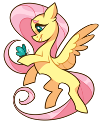 Size: 1662x2000   Tagged: safe, artist:bigmoon206, fluttershy, butterfly, pegasus, pony, explicit source, female, flying, hoof hold, looking at something, mare, outline, profile, simple background, smiling, solo, spread wings, transparent background, white outline, wings