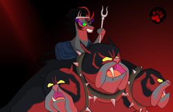 Size: 2300x1500 | Tagged: artist:darkprinceismyname, cerberus, cerberus (character), god, greek, king sombra, multiple heads, pony, safe, sombra eyes, three heads, underworld, unicorn