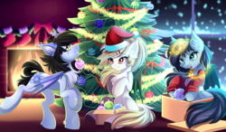 Size: 5679x3306 | Tagged: safe, artist:airiniblock, oc, oc only, oc:aida, oc:andromeda galaktika, oc:mitzy, bat pony, pony, bat pony oc, box, chest fluff, christmas, christmas tree, commission, ear fluff, female, fireplace, hat, holiday, mare, pony in a box, present, rcf community, santa hat, smiling, snow, snowfall, tree, window