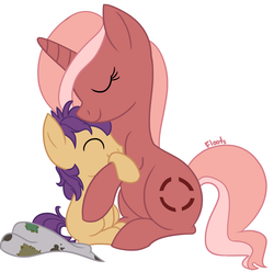 Size: 1679x1663 | Tagged: artist:floots, cuddling, fallout equestria, fallout equestria: broken bonds, fanfic art, oc, oc:cherry sundae, oc:sandstorm, pony, safe